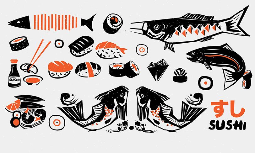 darmowe vectory sushi