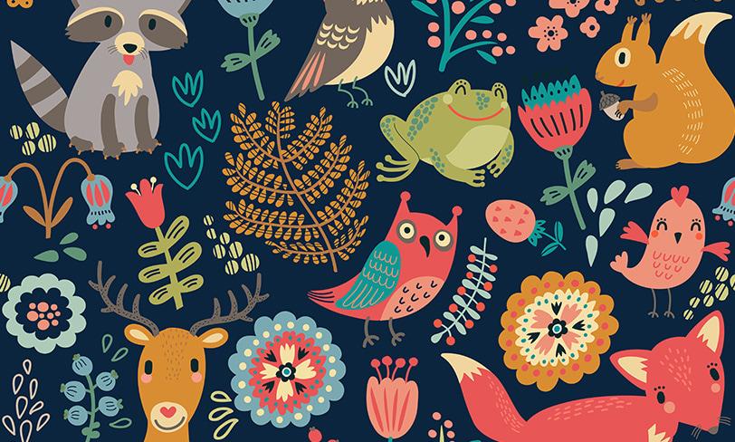 darmowy pattern las zwierzęta