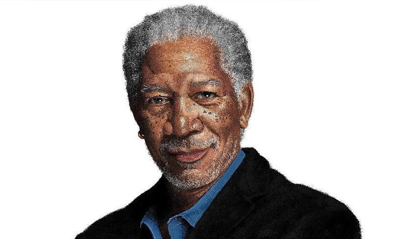 morgan freeman portret paint