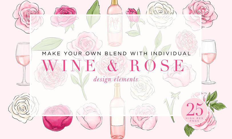 wine and rose daemowe ilustracje